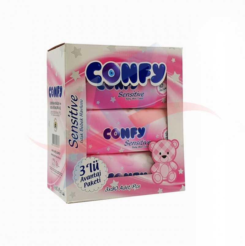 Lingettes bébé sensitive rose Confy x90